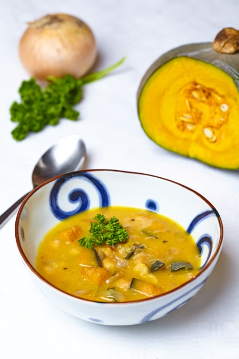 sweet vegetable autumn chick pea soup