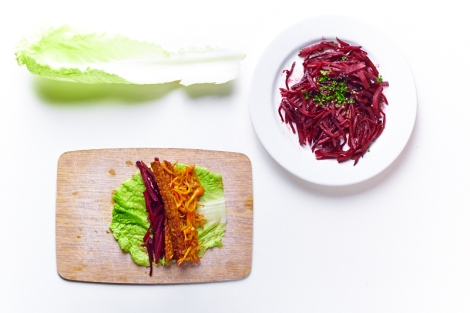 Chinese cabbage, beet root, tempeh rolls.