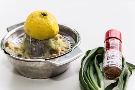 nanami togarashi, lemon, spring onion
